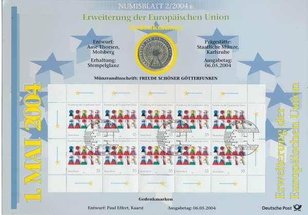"""Numisblatt Deutschland 2004/2 """"Erweiterung der Europäischen Union"""" mit 10€ Silbermünze Gedenkmünze"""