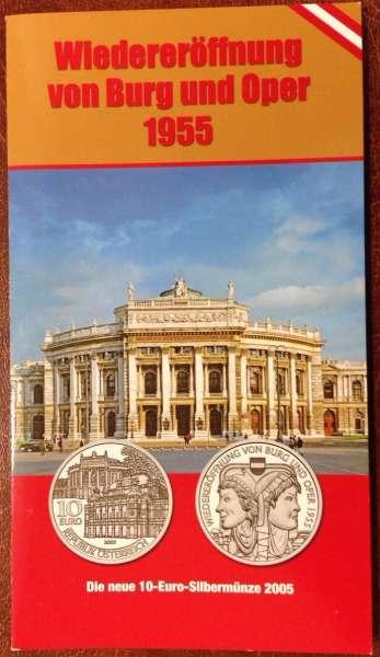 10 Euro Silber 2005 Wiedereröffnung Burg und Oper HgH ANK Nr. 08