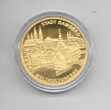 Deutschland 100 Euro 2004 Stadt Bamberg Gold Gedenkmünze Münzzeichen G 1/2 Unze