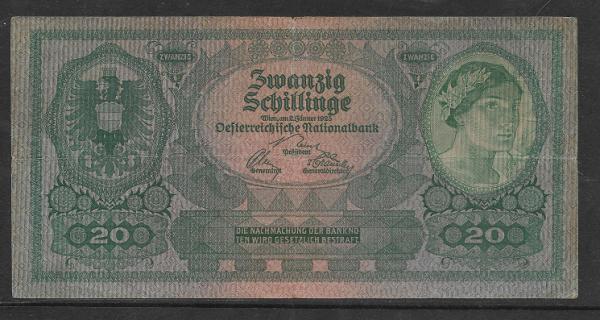 20 Schilling 2 Jänner 1925 Ank.Nr.213 Pick 89 Nr. 1043 024339