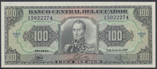 Ecuador – 100 Sucres (1988-97) (Pick 123a) Erh. UNC