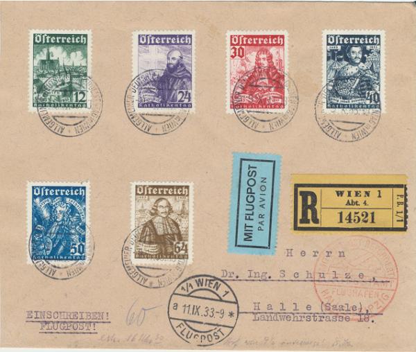 Katholikentag 1933 mit Flugpost Wien-Halle Reco