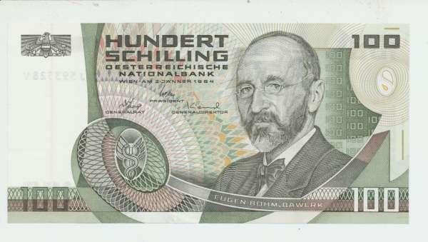 Pick 150 100 Schilling 2.1.1984 Eugen Böhm v. Bawerk Ank. 287a Erh.1 Nr.J 593528 V