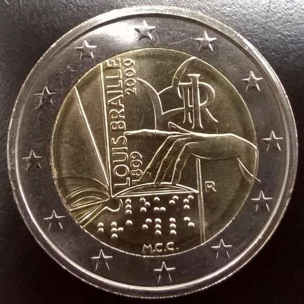 2 Euro Italien 2009 Louis Braille