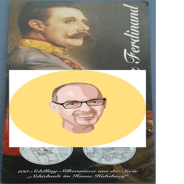 1999 100 Schilling Silber - Franz Ferdinand nur Flyer Folder