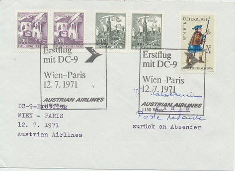 Erstflug DC-9 Wien-Paris 12.7.1971