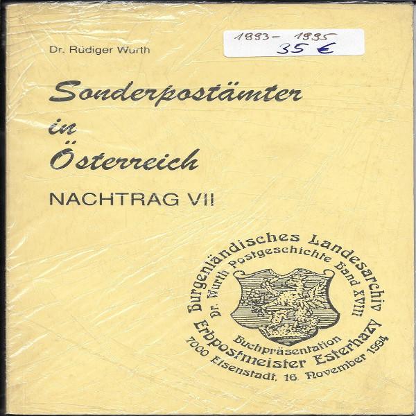 Sonderpostämter in Österreich Nachtrag 7 Dr.Würth Sonderstempelkatalog 1993-95