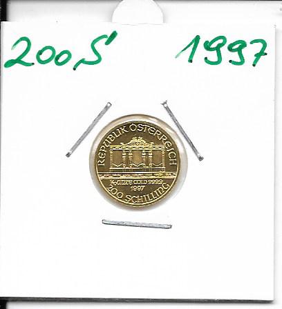 1997 Philharmoniker 1/10 Unze 200 Schilling ATS 3,11 Gramm