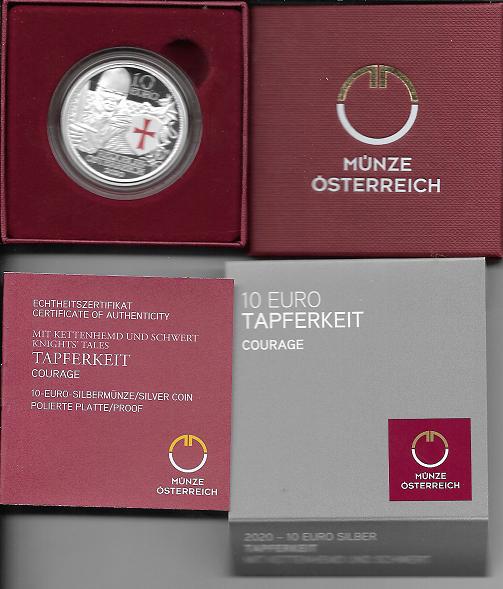 10 Euro 2020 Tapferkeit Silber PP Ank. Nr.37