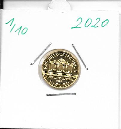 2020 Philharmoniker 1/10 Unze 10 € Euro 3,11 Gramm