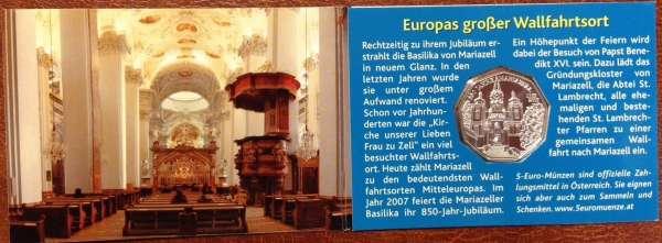 5 Euro Silber 2007 850 Jahre Mariazell Blau ANK Nr.10c