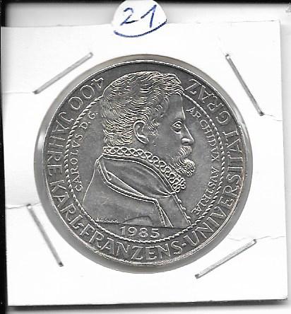 ANK Nr. 21 400 Jahre Karl Franzens Universität Graz 1985 500 Schilling Silber Normal