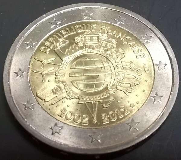 2 Euro Frankreich 2012 10 Jahre Euro