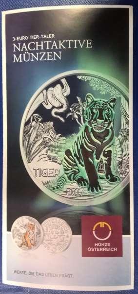 ANK Nr. 02 Flyer FOLDER ZU DER 3 EURO MÜNZE Tiertaler Tiger 2017