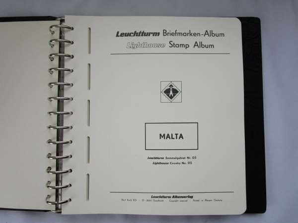 Leuchtturm Album Schwarz + Hülle Vordruckblätter Malta aus 1964-1990