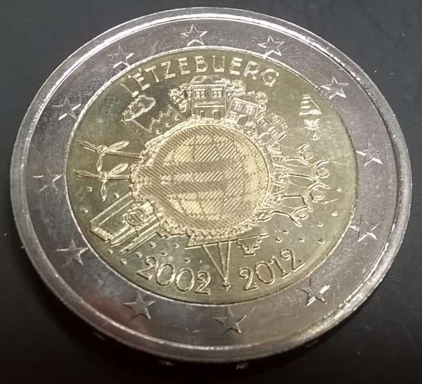 2 Euro Luxemburg 2012 10 Jahre Euro