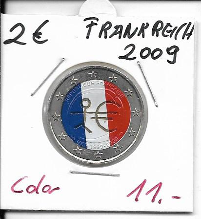2 Euro Frankreich 2009 WWU Coloriert