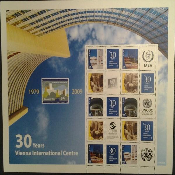 6.Grussmarken Bogen 30Jahre Uno Wien 2009 postfrisch