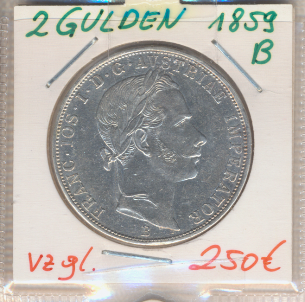 2 Gulden 1859 B Silber