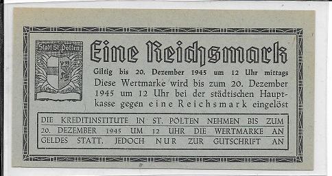 1 Reichsmark 1945 St.Pölten Ank NG5