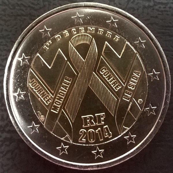 2 Euro Frankreich 2014Welt Aids Tag