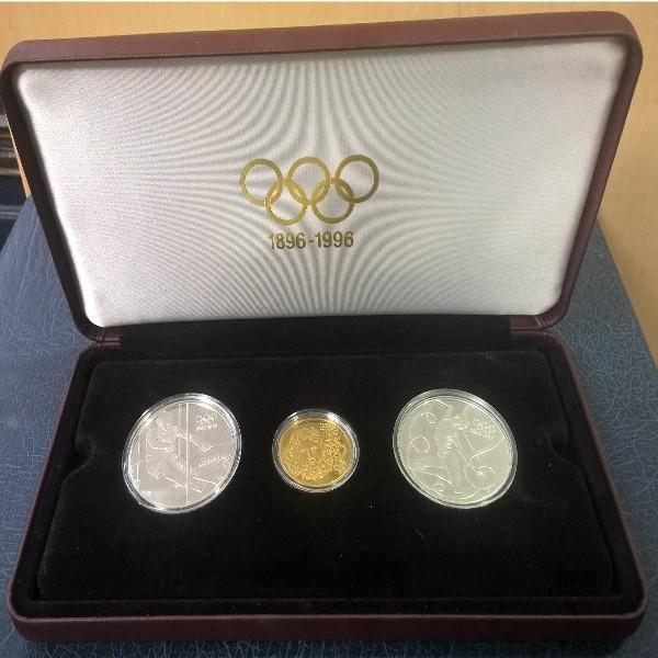 100 Jahre Olympische Bewegung IOC 2x 200 Schilling +1000 Schilling Zeus