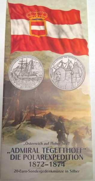 ANK Nr. 07 Flyer FOLDER ZU DER 20 EURO MÜNZE - S.M.S Admiral Tegetthoff Die Polarexpedition 2005