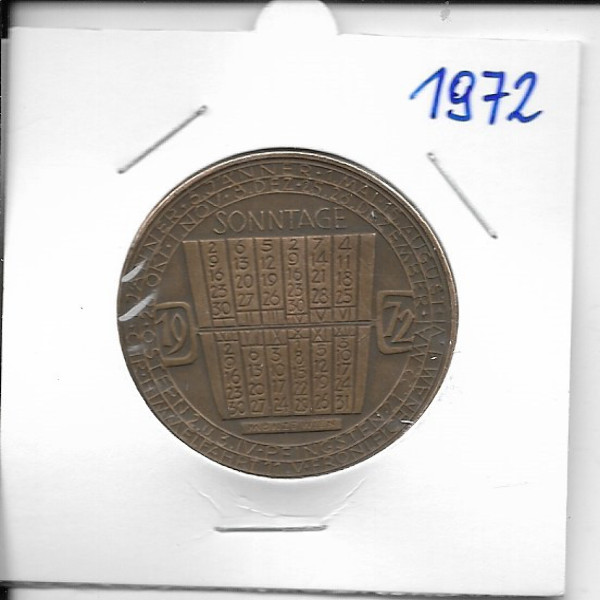 Kalendermedaille Jahresregent 1972 Bronze