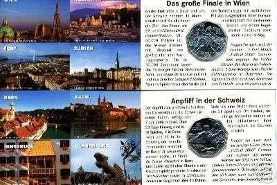 5 Euro Silber 2008 Fussball 2008 Stürmer & Dribbler Kurierfolder ANK Nr. 11c +12c