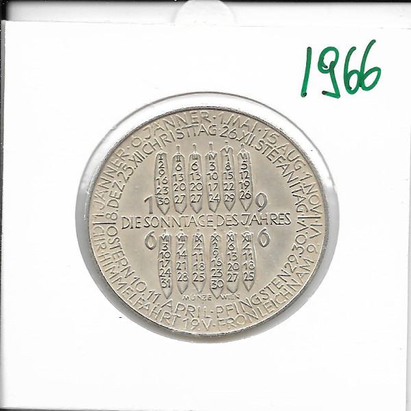 Kalendermedaille Jahresregent 1966 Silber