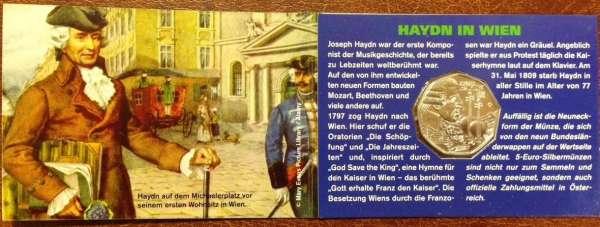 5 Euro Silber 2009 Haydn blau Wien ANK Nr.14