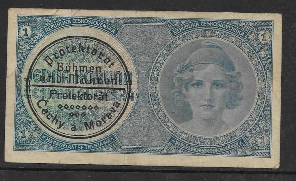 1 Koruna Serie A060 Stempel Protektorat Böhmen und Mähren