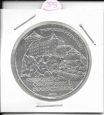 ANK Nr. 59 Festung Kufstein 2001 500 Schilling Silber Normal