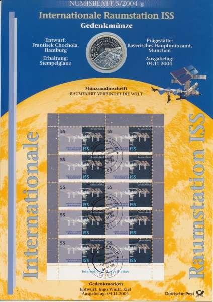 """Numisblatt Deutschland 2004/5 """"Internationale Raumstation ISS"""" mit 10€ Silbermünze Gedenkmünze"""