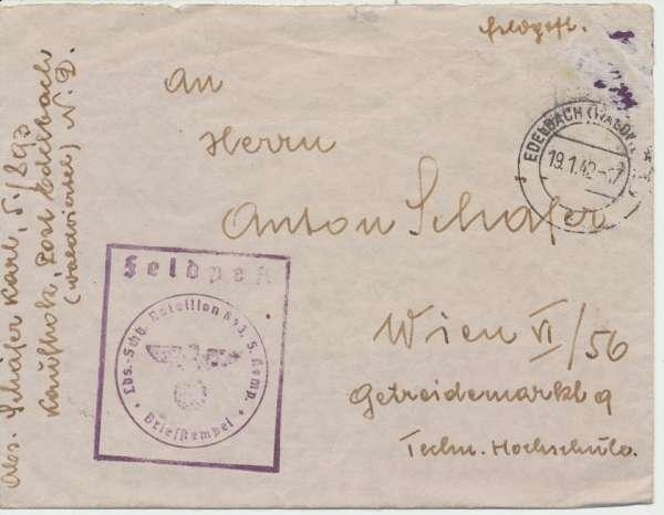 Feldpost Briefstempel Edelbach Niederdonau -Wien 1942