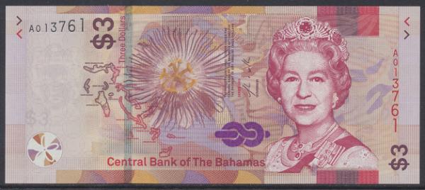 Bahamas -3 Dollar 2019 UNC - Pick new