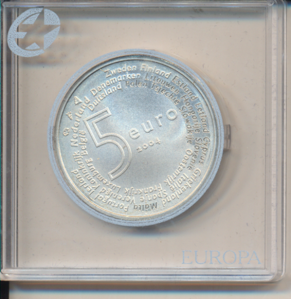 5 Euro 2004 Niederlande Silber EU - Erweiterung Silber Ag Europa Stern