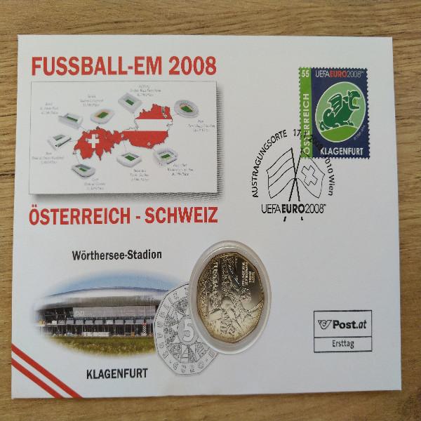 NBE 16 Em 2008 Wörtersee-Stadion Numisbrief mit 5 Euro Silber Stürmer