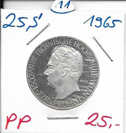 25 Schilling 1965 PP 150 Jahre Technische Hochschule Wien Prechtl ANK Nr.011
