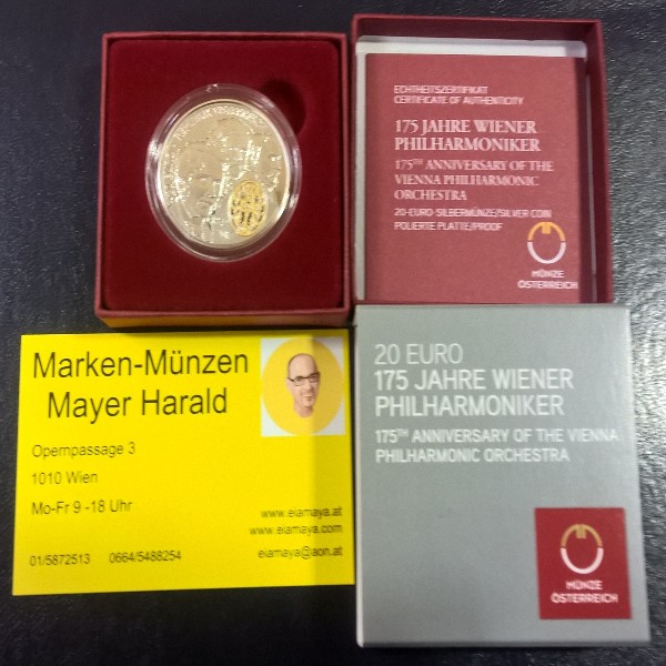 20 Euro 2017 175 Jahre Wiener Philharmoniker Silber PP ANK Nr.37
