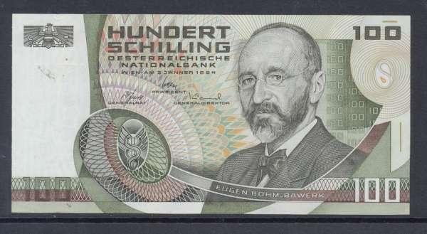 100 Schilling 2.1.1984 Eugen Böhm v. Bawerk Ank. 287b Erh.1 Nr.DE52219H Pick 150