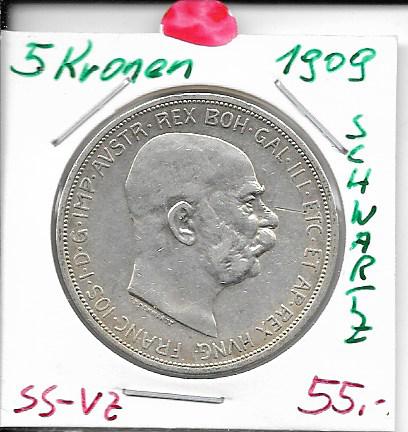5 Kronen 1909 mit Schwartz