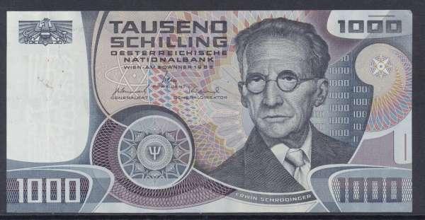 1000 Schilling 3.1.1983 Erwin Schrödinger Ank.285 ganz leicht Gebraucht. NR: Q526222M Pick