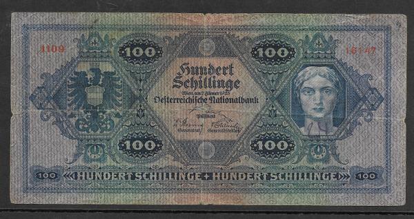100 Schilling 2 Jänner 1925 Ank.Nr.214 Nr. 1109 16147