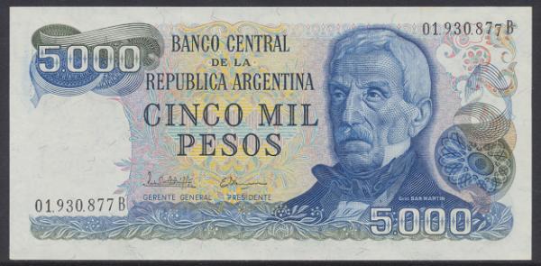 Argentinien – 5000 Pesos (1973-83) (Pick 305) Erh. UNC