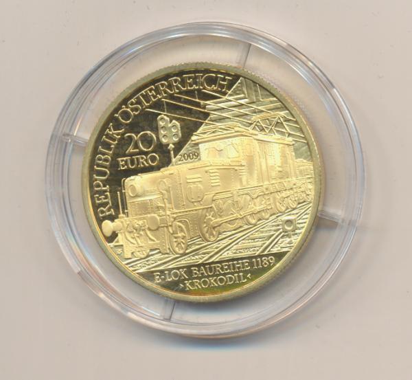 20 EURO Silber 2009 Die Elektrifizierung der Bahn 24 Karat Vergoldet
