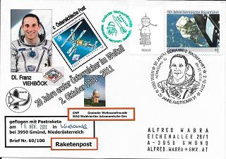 Raketenpost GWF WAG mit Startprotokoll Nr.60/100 20 Jahre Austromir 91 Bruchlandung
