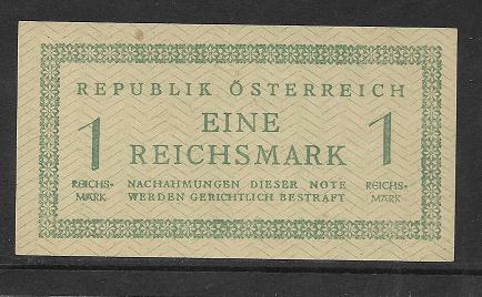 1 Reichsmark 1945 linke Wertziffer etwas tiefer Ank 250 Pick 113 Russische Zone
