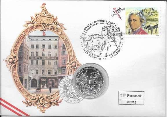 NBE 9b) 2006 Mozart in Salzburg Stempel Salzburg Numisbrief mit 5 Euro Silber