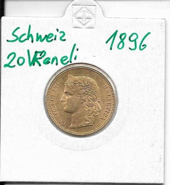 20 Franken 1896 Vreneli Schweiz Gold